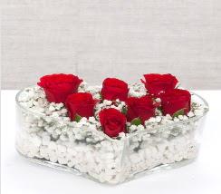 kalp içerisinde 7 adet kırmızı gül  Gaziantep çiçek yolla