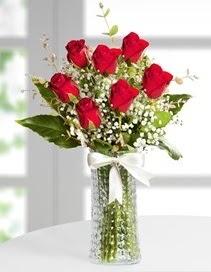 Cam vazoda 7 adet kırmızı gül  Gaziantep çiçek mağazası , çiçekçi adresleri