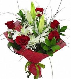 1 dal kazablanka 5 kırmızı gül buketi  Gaziantep internetten çiçek siparişi