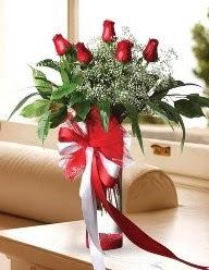 Camda 5 kırmızı gül tanzimi  Gaziantep çiçek online çiçek siparişi