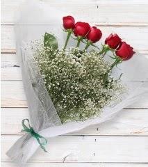 5 kırmızı gülden sade buket  Gaziantep anneler günü çiçek yolla