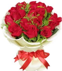 19 adet kırmızı gülden buket tanzimi  Gaziantep internetten çiçek satışı