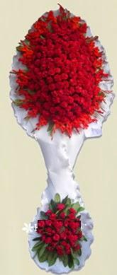 Çift katlı kıpkırmızı düğün açılış çiçeği  Gaziantep hediye çiçek yolla