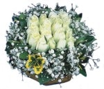 Gaziantep İnternetten çiçek siparişi  Beyaz harika bir gül sepeti