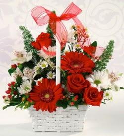 Karışık rengarenk mevsim çiçek sepeti  Gaziantep çiçek gönderme sitemiz güvenlidir