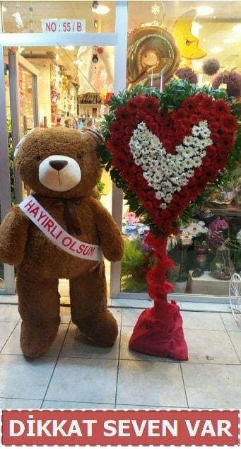 1.5 Metre peluş ayı ve Kalp  Gaziantep 14 şubat sevgililer günü çiçek