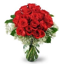 25 adet kırmızı gül cam vazoda  Gaziantep çiçek mağazası , çiçekçi adresleri