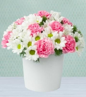 Seramik vazoda papatya ve kır çiçekleri  Gaziantep online çiçekçi , çiçek siparişi
