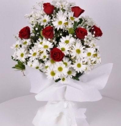 7 adet kırmızı gül ve papatyalar krizantem  Gaziantep çiçek yolla , çiçek gönder , çiçekçi