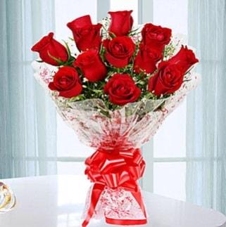11 adet kırmızı gülden görsel şık buket  Gaziantep kaliteli taze ve ucuz çiçekler