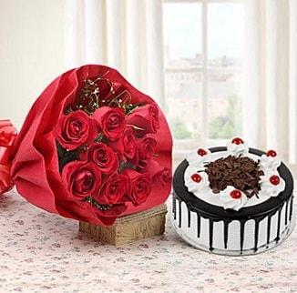 12 adet kırmızı gül 4 kişilik yaş pasta  Gaziantep çiçek mağazası , çiçekçi adresleri