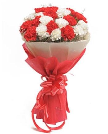 21 adet kırmızı beyaz karanfil buketi  Gaziantep çiçek servisi , çiçekçi adresleri