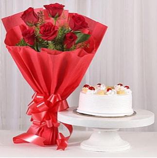 6 Kırmızı gül ve 4 kişilik yaş pasta  Gaziantep çiçek mağazası , çiçekçi adresleri