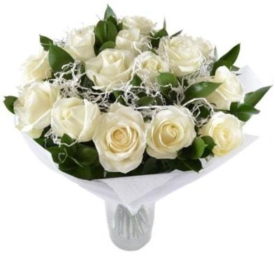 15 beyaz gül buketi sade aşk  Gaziantep çiçek servisi , çiçekçi adresleri