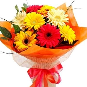 9 adet karışık gerbera buketi  Gaziantep çiçek mağazası , çiçekçi adresleri