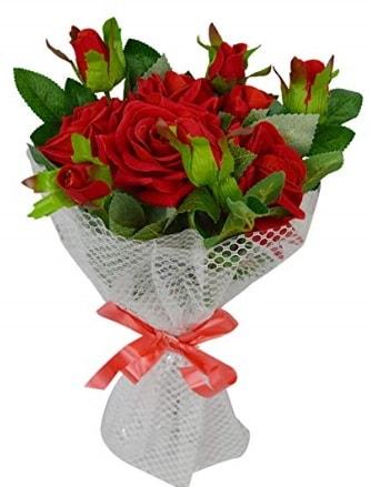 9 adet kırmızı gülden sade şık buket  Gaziantep çiçek online çiçek siparişi