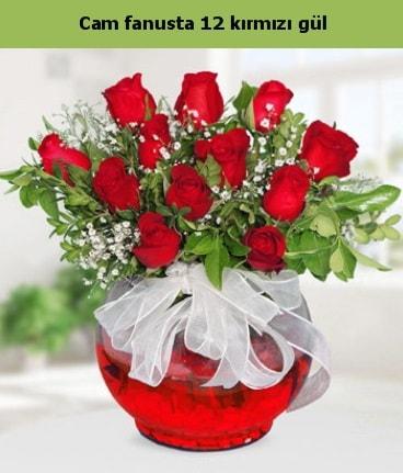 Cam içerisinde 12 adet kırmızı gül  Gaziantep çiçek yolla , çiçek gönder , çiçekçi