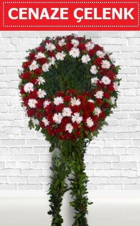 Kırmızı Beyaz Çelenk Cenaze çiçeği  Gaziantep uluslararası çiçek gönderme