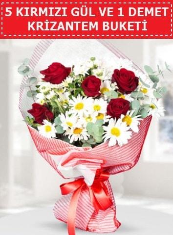 5 adet kırmızı gül ve krizantem buketi  Gaziantep çiçek servisi , çiçekçi adresleri