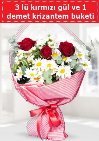 3 adet kırmızı gül ve krizantem buketi  Gaziantep 14 şubat sevgililer günü çiçek