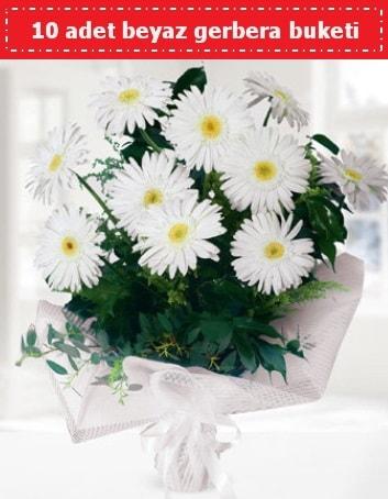 10 Adet beyaz gerbera buketi  Gaziantep çiçek mağazası , çiçekçi adresleri
