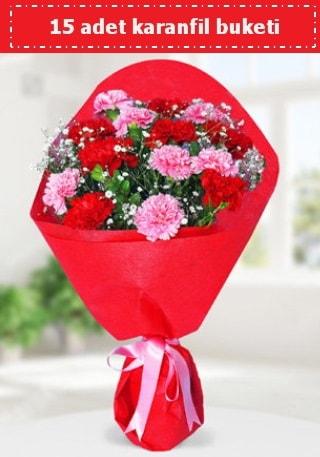 15 adet karanfilden hazırlanmış buket  Gaziantep çiçek satışı