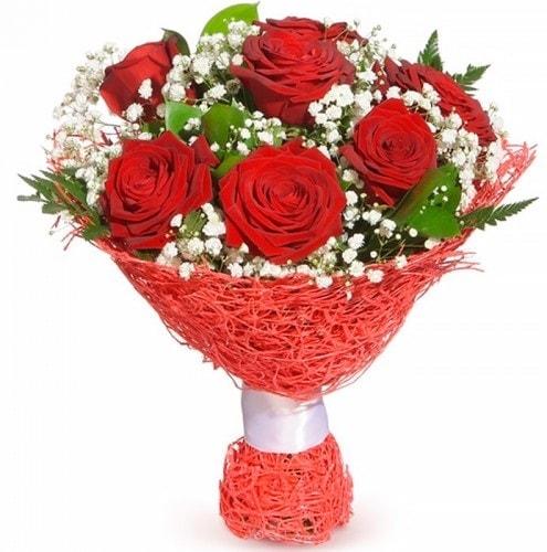 7 adet kırmızı gül buketi  Gaziantep İnternetten çiçek siparişi